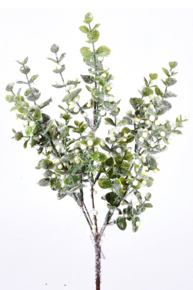 Faux Iced Boxwood Berry Branch 15""