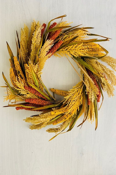 Silk Corn and Wheat Grass Wreath