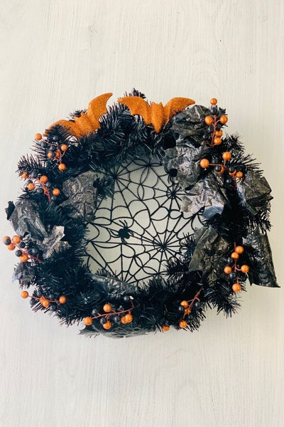 Silk Spiders and Berries Halloween Wreath