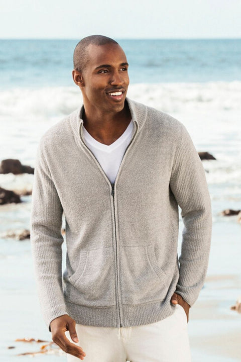 Barefoot Dreams CozyChic Lite Men's Zip Front Jacket Heathered Pewter/Silver