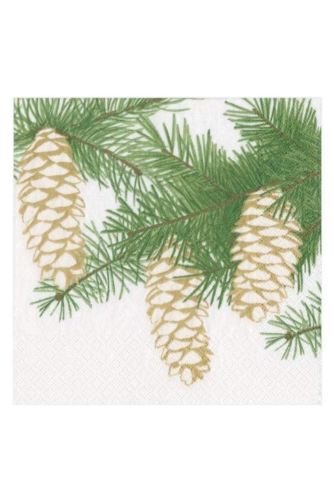 Pinecones Paper Cocktail Napkins in Ivory