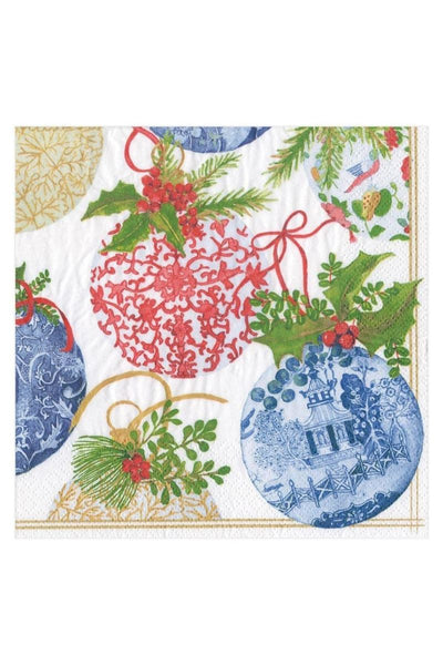 Caspari Porcelain Ornaments Paper Christmas Lunch Napkins