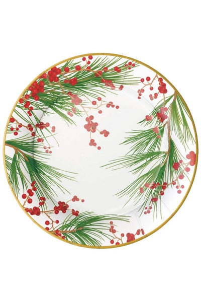 Caspari Berries and Pine Paper Dinner Plates