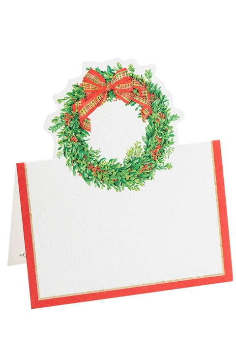 Caspari Boxwood and Berries Wreath Die-Cut Place Cards
