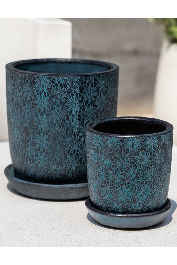 Campania Marguerite Small Round Planter-Etched Blue