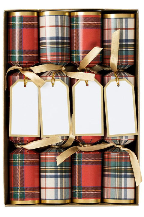 Stewart Tartan Celebration Christmas Crackers - 8 Per Box
