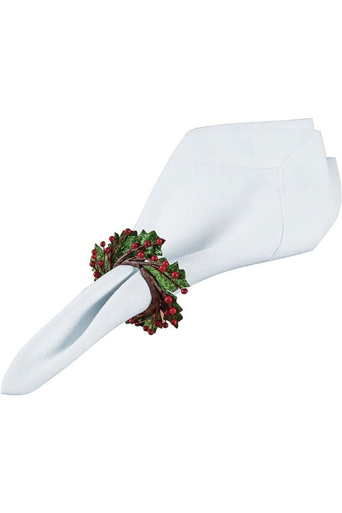 C&F, Napkin Ring with Holly & Berries
