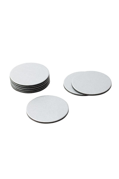 Caspari, Round Coasters - Silver Leather