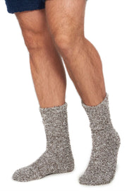 Barefoot Dreams CozyChic Heathered Men's Socks Charcoal/White