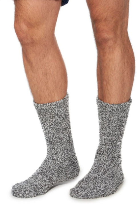 Barefoot Dreams CozyChic Heathered Men's Socks Slate Blue/White