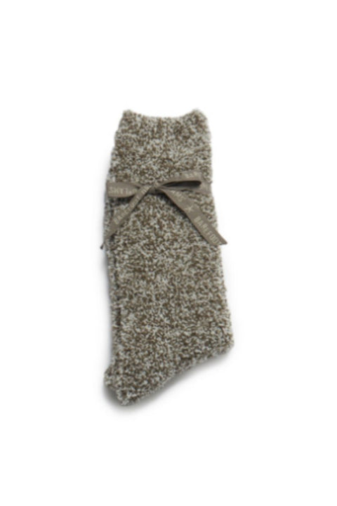 Barefoot Dreams: CozyChic Heathered Men's Socks Warm Gray/White