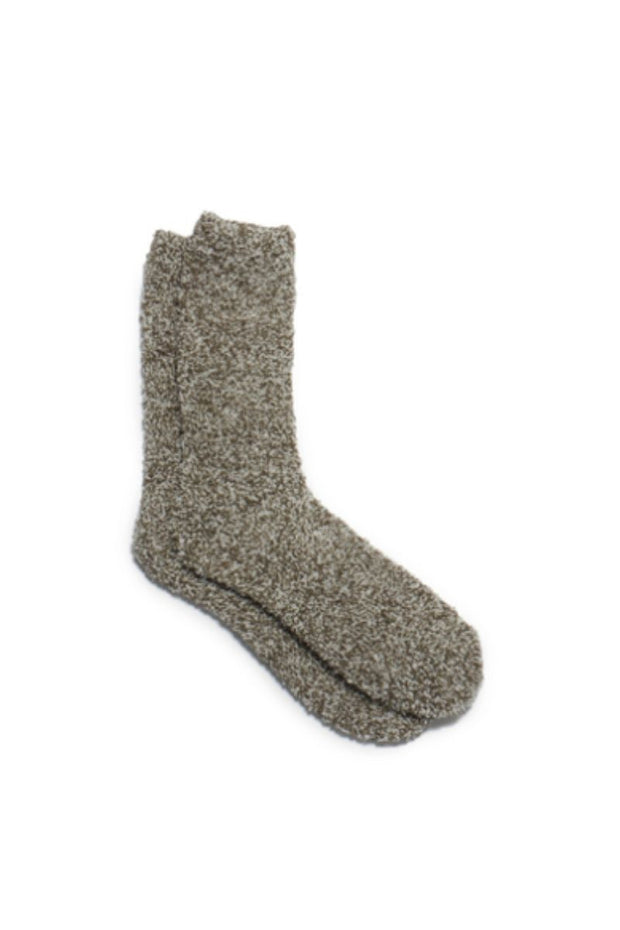 Barefoot Dreams CozyChic Heathered Men's Socks Warm Gray/White