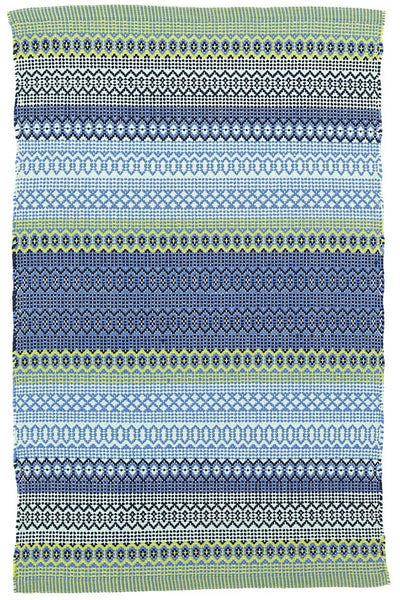 Fiesta Stripe French Blue & Green Indoor/Outdoor Rug 2' x 3'