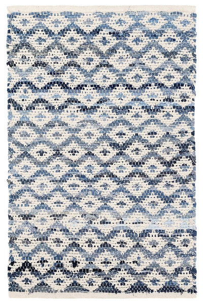 Denim Rag Diamond Ivory Woven Cotton Rug 2' x 3'