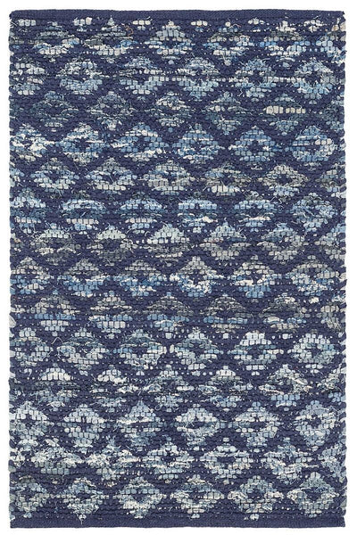 Denim Rag Diamond Indigo Woven Cotton Rug 2' x 3'
