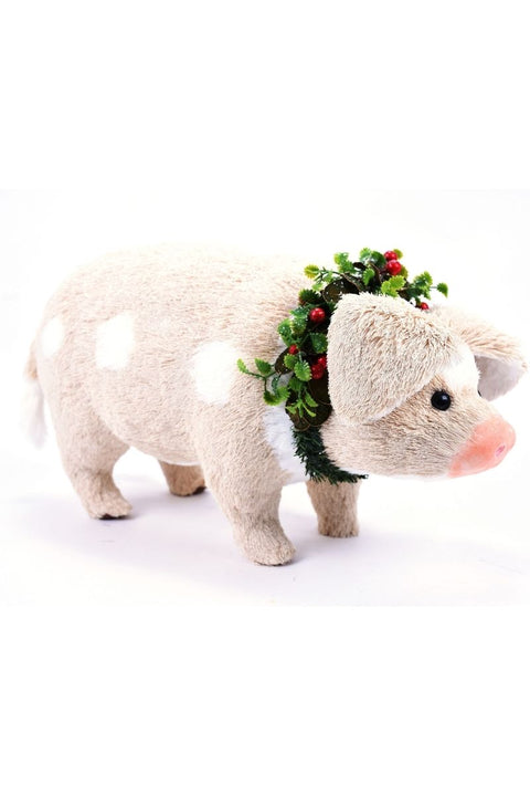 Ornament, Pig with Wreath