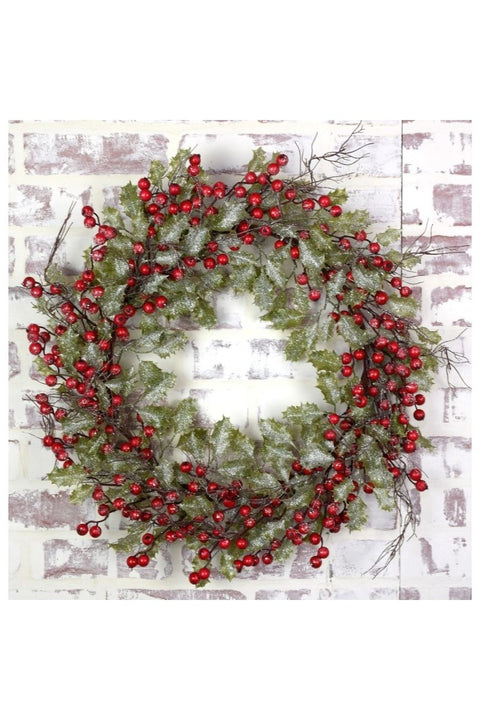Frosted Holly Berry Wreath 22""
