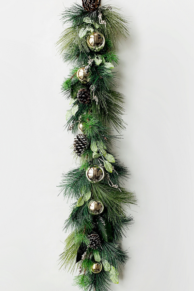 Garland | Faux | Mixed Pine Ball Berry 4'