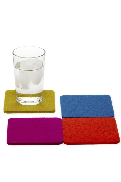 Bierfilzl Square Coaster Felt Multi 4 Pack Electric