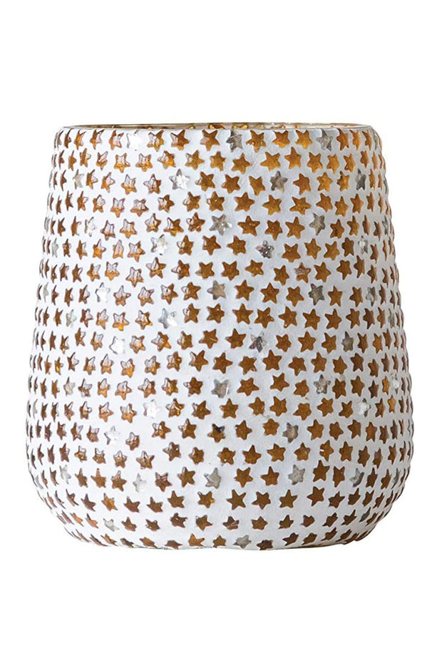 Gold Glass Star Mosaic Votive Candle Holder 4.25""