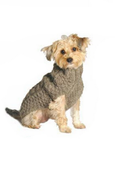 Chilly Dog Gray Cable Knit Wool Dog Sweater