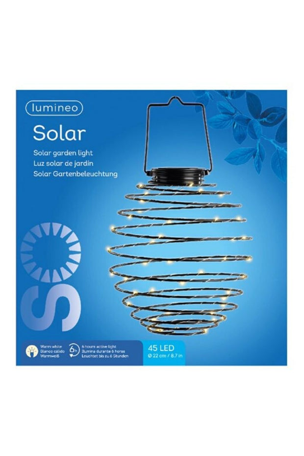 Solar-powered LED Metal Wire Globe Outdoor Light