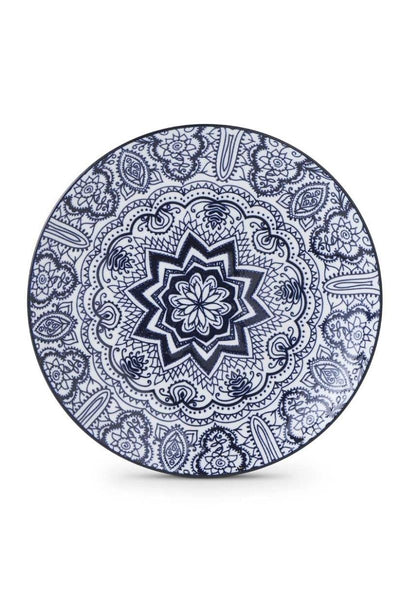 Blue & White Ceramic Plate with Flower Pattern
