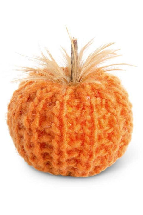 Orange Crochet Pumpkin with Wood Stem and Feathers