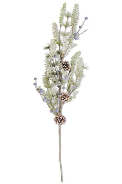 Frosted Fir Pine Spray with Pine Cones and Blueberries