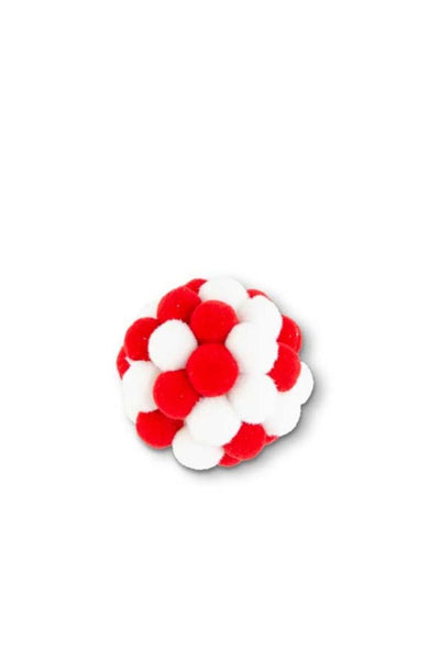Red and White Pom Pom Ball Ornament