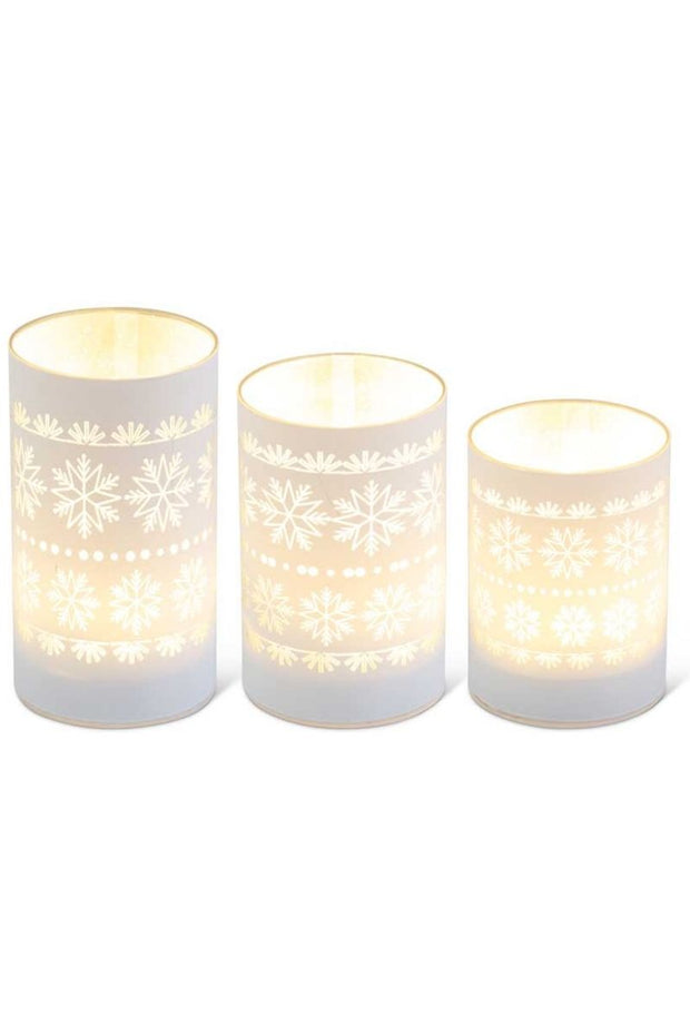 Matte White LED Glass Candles with Snowflakes