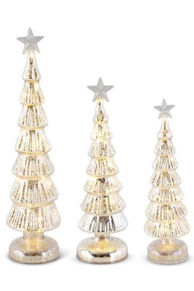 Silver Glass LED Trees with Glittering Star