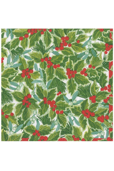 Caspari Holly and Mistletoe Paper Luncheon Napkins