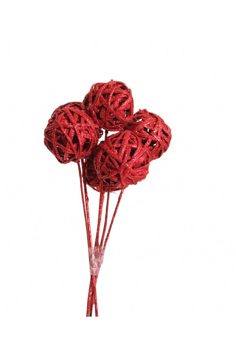 Lata Balls (3 stem) Red Glitter