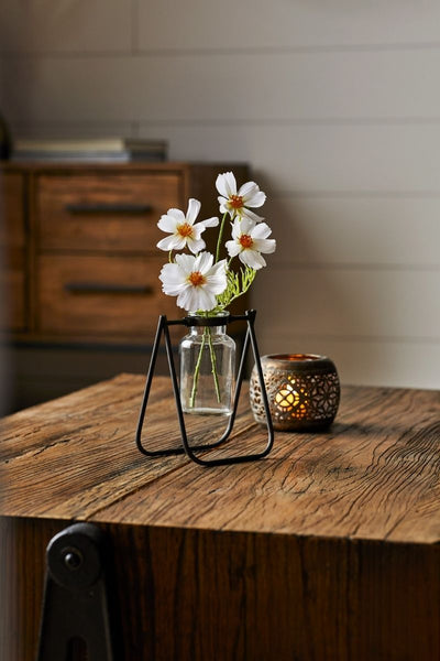 Glass Vase Jar in Metal Stand
