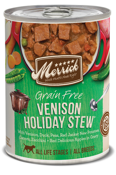 Merrick Grain Free Venison Holiday Stew in Gravy Canned Dog Food