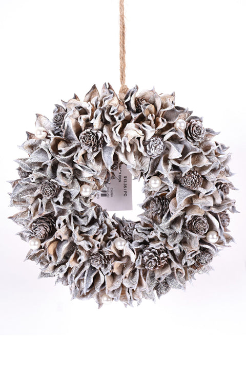 Ornament, Metallic Pine Cone & Pearl Wreath 9.4""