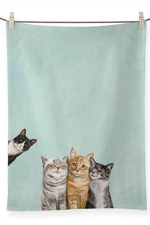 Green Box Art Feline Friends - Three Cats Plus One Tea Towel