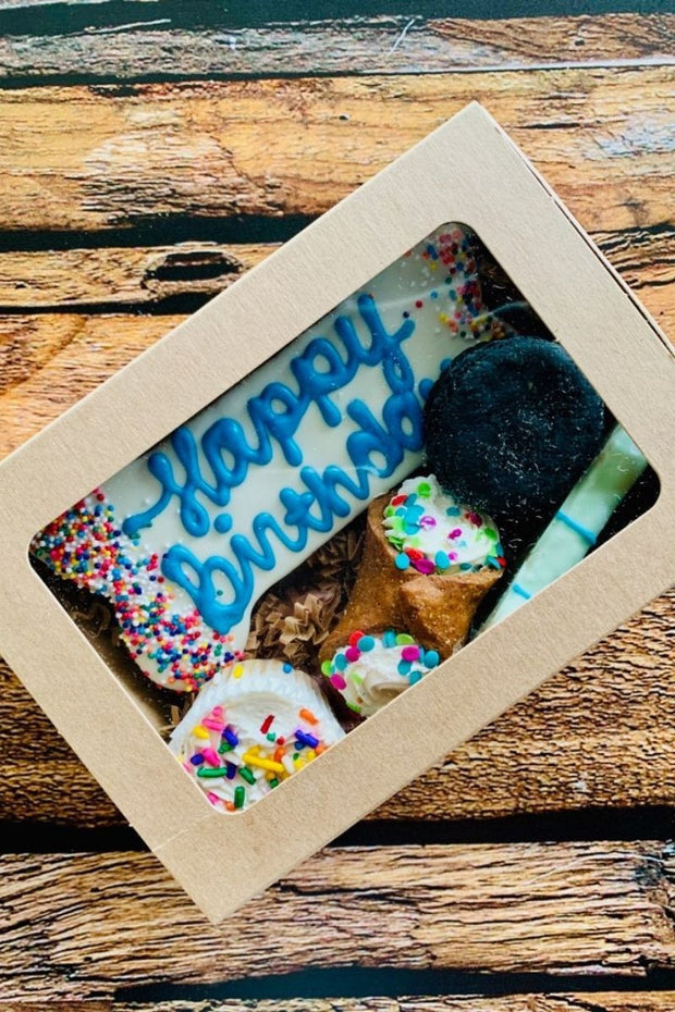 """Happy Birthday Barkery Box"" Dog Treats - Blue"