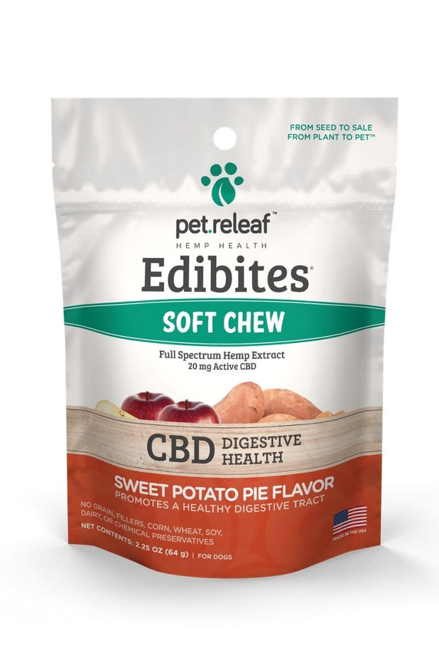 Pet Releaf Sweet Potato Pie Hemp Oil Edibites 2.25 oz (Digestive Health) Dog Chews