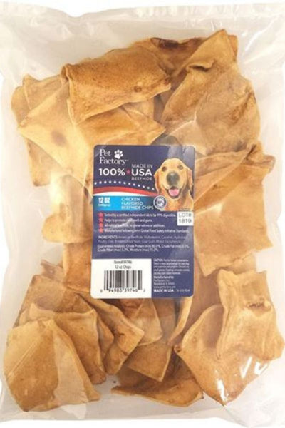 Pet Factory 100% USA Beefhide Chicken Flavored Chips 12 oz