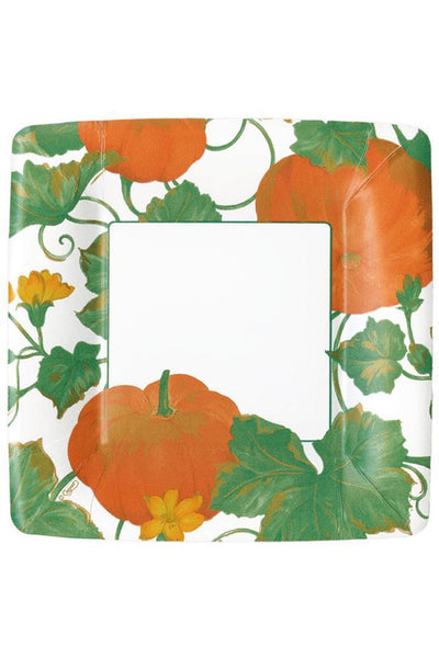 Caspari Heirloom Pumpkins Square Paper Salad & Dessert Plates in Ivory & Orange