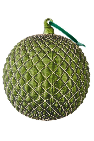 Ornament, Green Quilted Ball