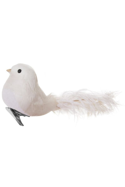 Ornament, Feather Bird with Ostrich Tail Cream