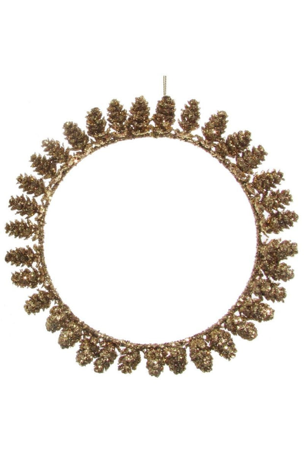 Wreath, Glittering Gold Pinecones