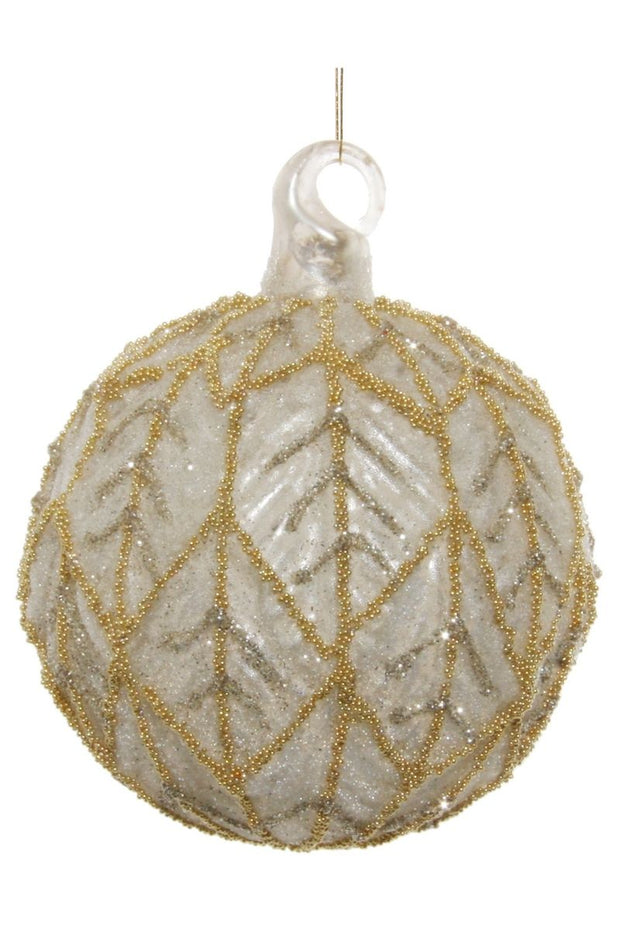 Ornament, Antique Matte White with Gold Beads Glass Ball