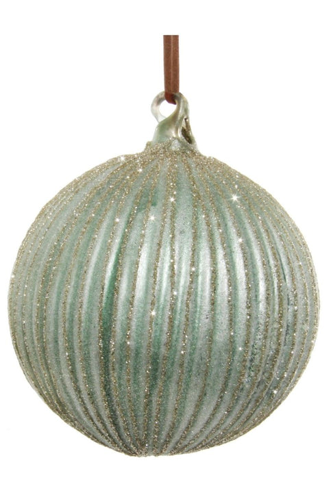 Ornament, Lined Light Green with Champagne Glitter Glass Ball