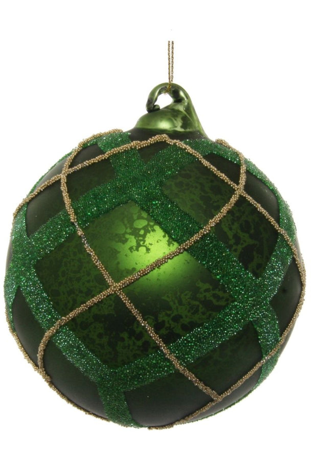Ornament, Antique Green Glass Ball with Golden Lines