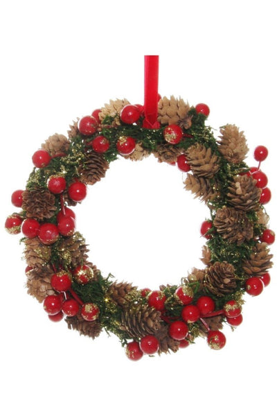 Wreath, Red Berry Pine Cone with Gold Glitter