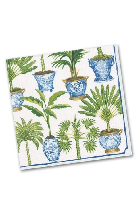Caspari White Potted Palm Napkins